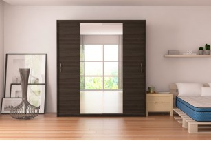"Wardrobe Elda F38 78.7"" with Mirror Sliding Doors"