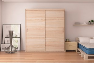 "Wardrobe Elda F38 78.7"" with Sliding Doors"