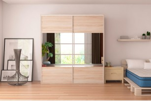"Wardrobe F19 78.7"" with Mirror Sliding Doors"